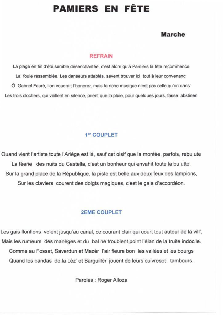 thumbnail of PAMIERS EN FETE-paroles
